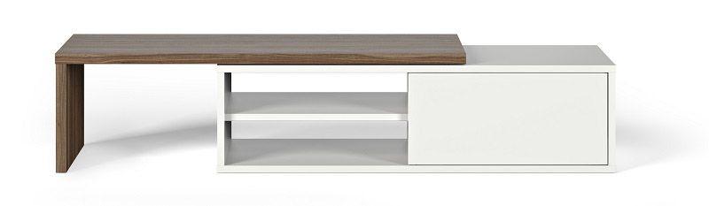 Temahome - Move TV-bord - Hvid/brun - TV-bord med en bevægelig top