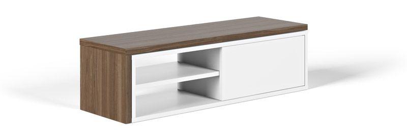 Temahome Move TV-bord - Hvid/brun - TV-benk med bevegelig topp