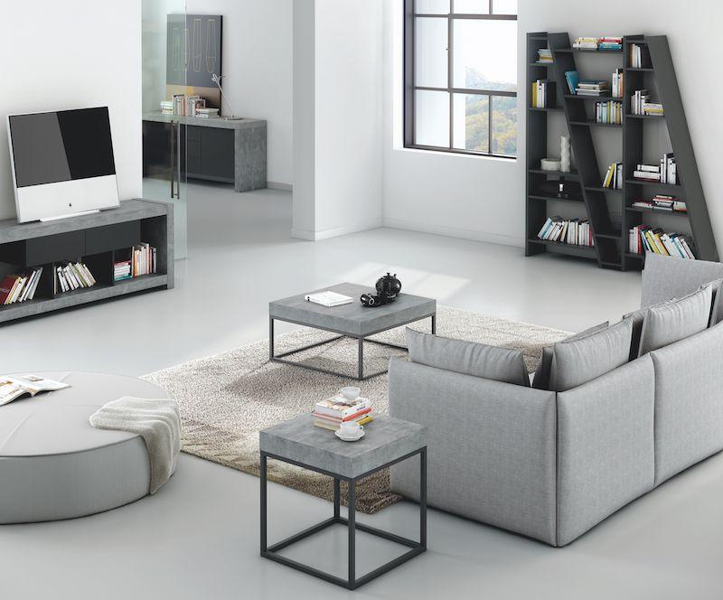 Petra Sofabord 75 - Mørk grå - Elegant sofabord i råt beton-look