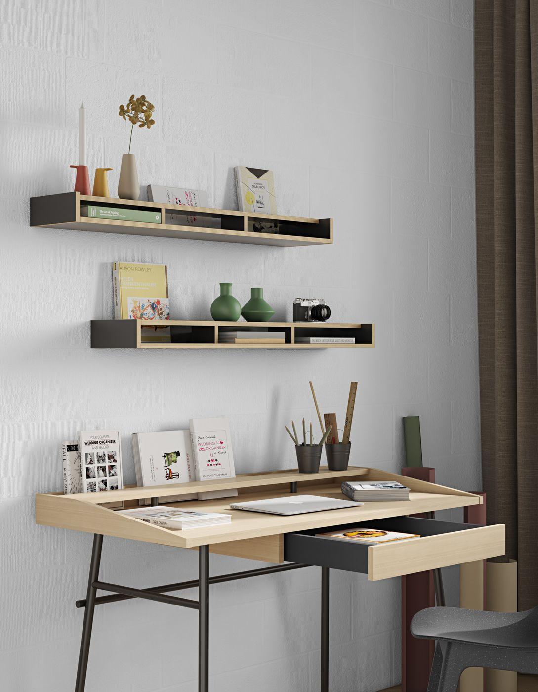 Temahome Ply Skrivebord 120x60 - Lys egefinér/Sort