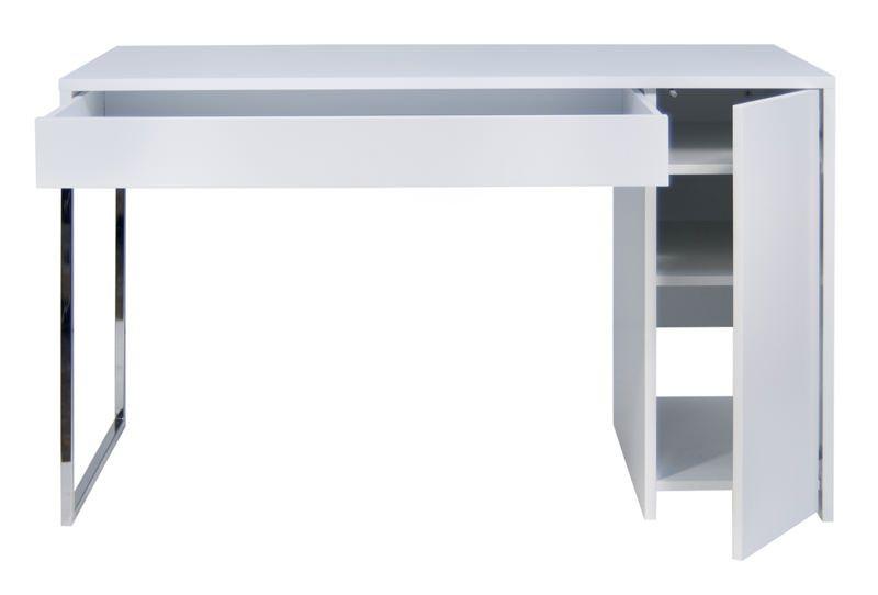 Temahome - Prado Skrivebord - Hvid m/krom ben - Smart skrivebord i hvid m. skuffe og sideskab
