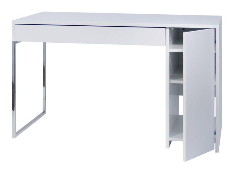 Temahome Prado Skrivebord - Hvid m/krom ben - Skrivebord i hvit m. skuff og sideskap