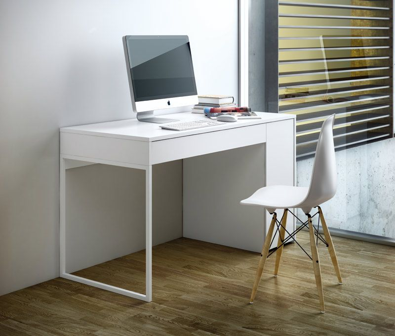 Temahome Prado Skrivebord - Hvid - Skrivebord i hvit m. skuff og sideskap