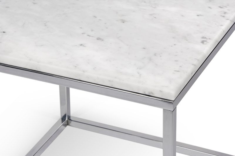 Temahome - Prairie Hjørnebord - Carrara marmor - Krom stel 50 x 50 cm
