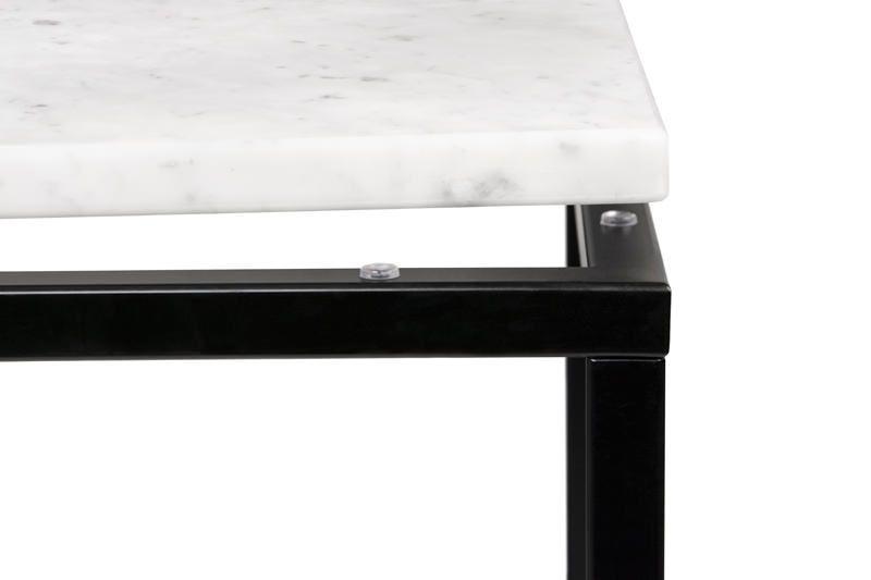 Temahome Prairie Sidebord - Carrara marmor, sort - Svart understell 50 x 50 cm