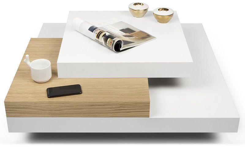 Temahome - Slate Sofabord - Hvid - Moderne niveauopdelt sofabord