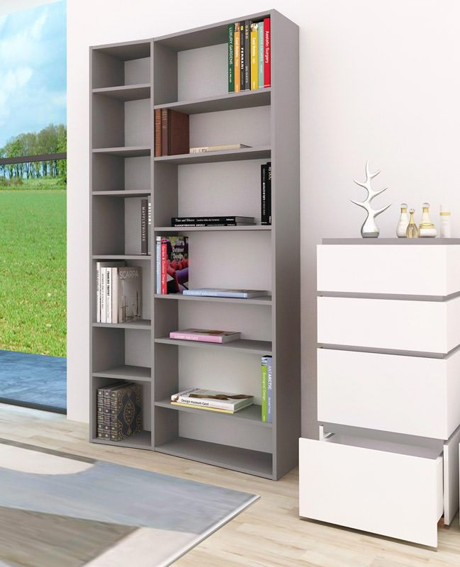 Temahome - Valsa Reol - Grå 14 rum - Bogreol i grå m. store og små rum