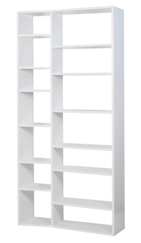 Temahome Valsa Reol - Hvid 14 rum - Bokreol i hvit med store og små rom
