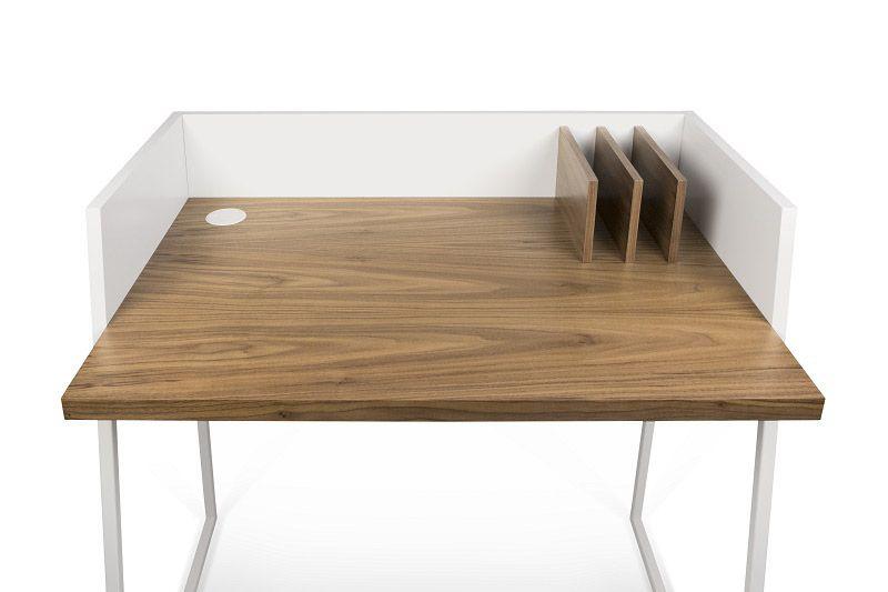 Volga Skrivebord - Hvid - Valnød - Skrivebord i karakteristisk design