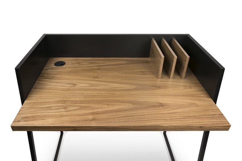 Volga Skrivebord - Sort - Valnød - Skrivebord i karakteristisk design