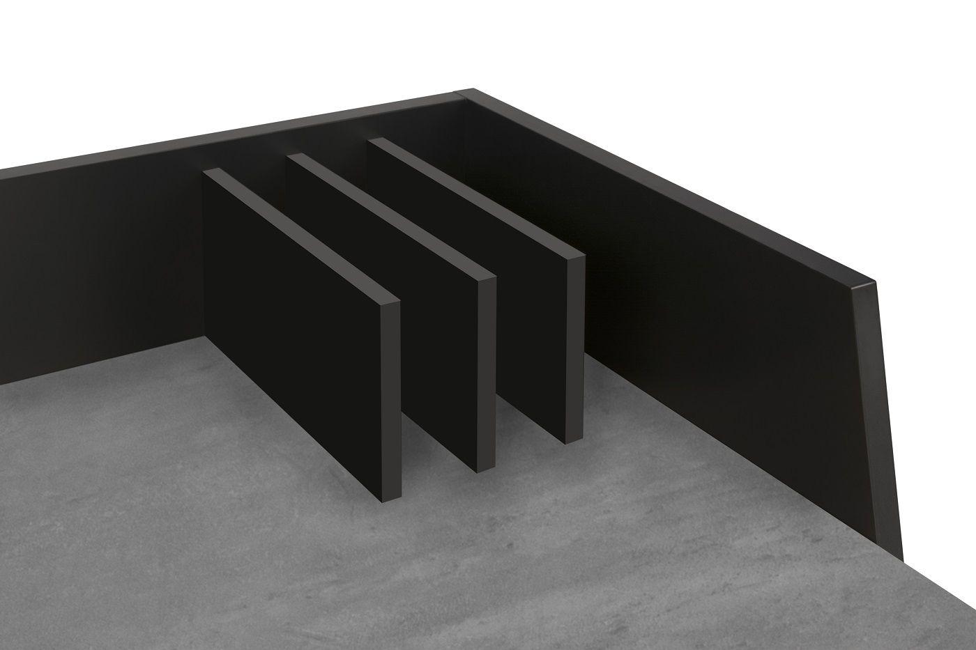 Temahome Volga Skrivebord - Sort/Mørk Betongrå