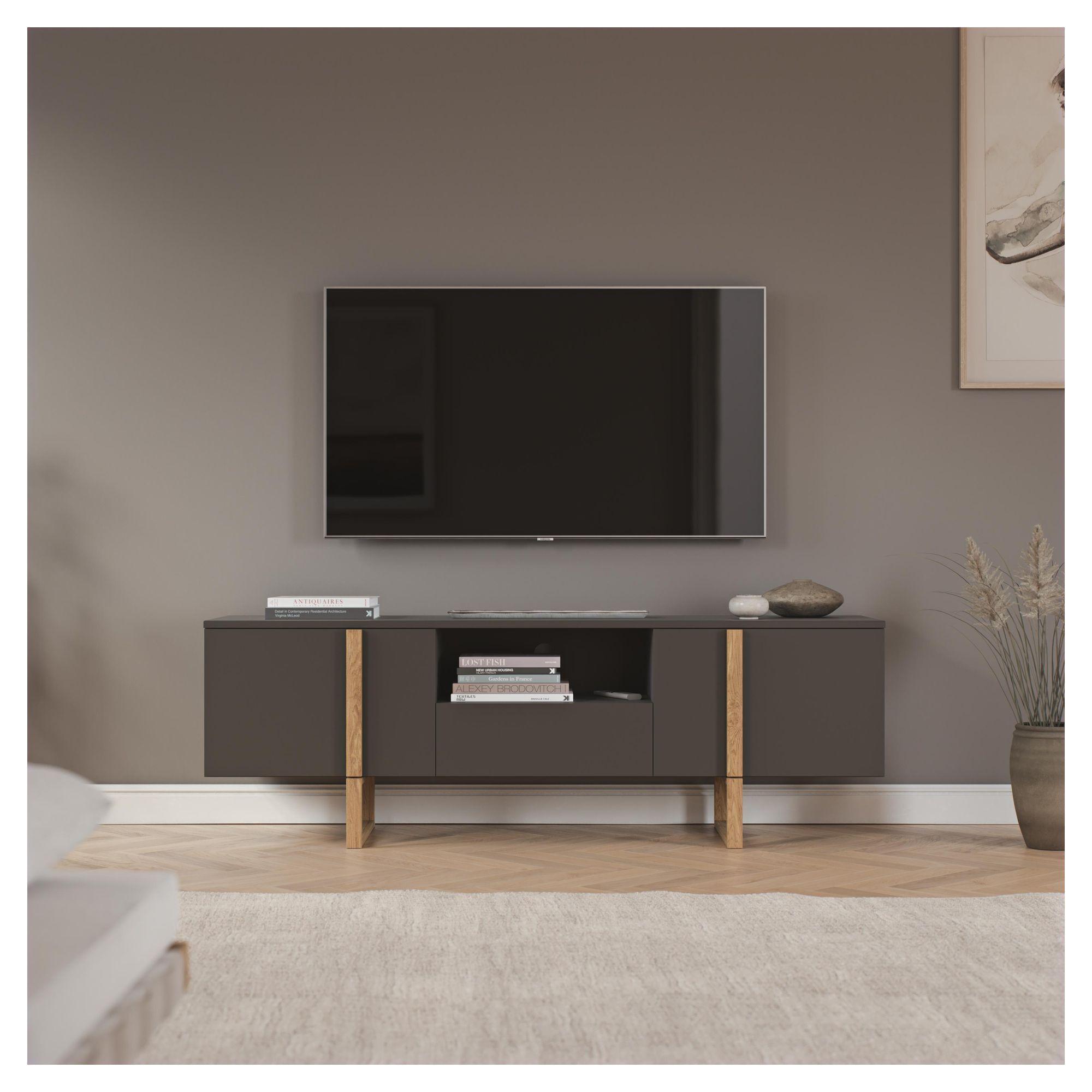 TENZO - Birka TV-bænk, Eg, mat grå