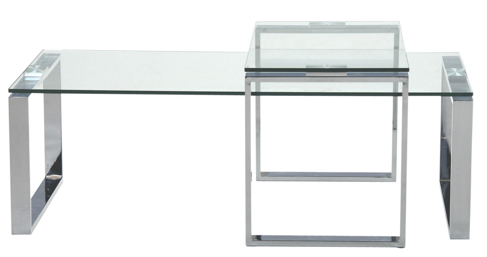Toftdal Sofabordssæt - Sofabordssæt med bordplade i klar glas