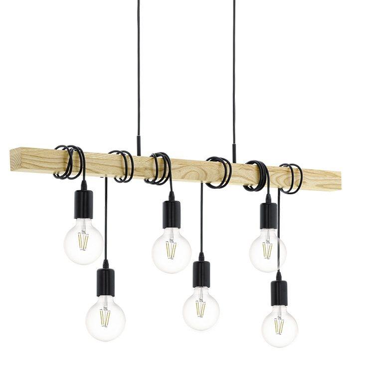 Townshend Pendler Loftlampe - Sort - Skinne med 6 pendler