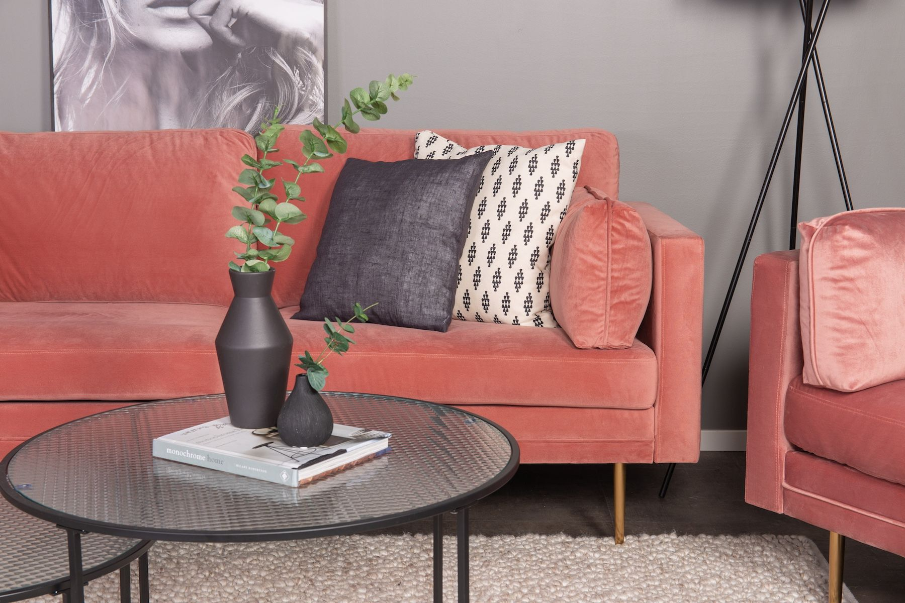Boom 3-pers. sofa, Dusty pink Velour