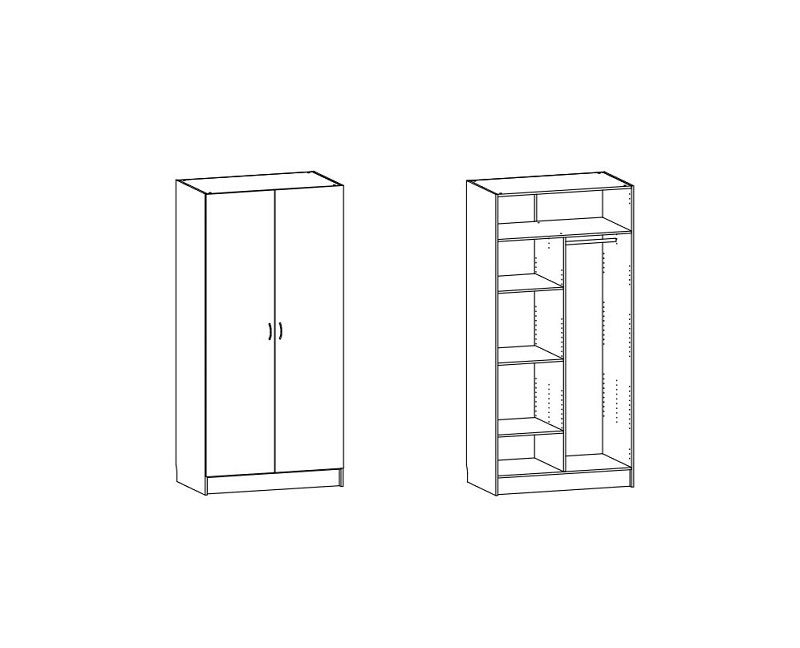 Designa Garderobeskab 100 cm - Hvid