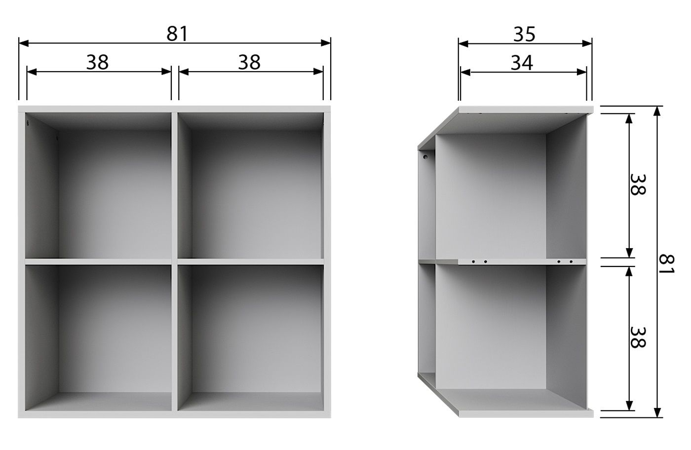Lower Modulreol m/4 åbne rum - Grå