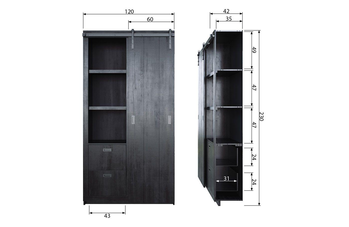 Slide Garderobeskab - Sort Fyrretræ FSC®