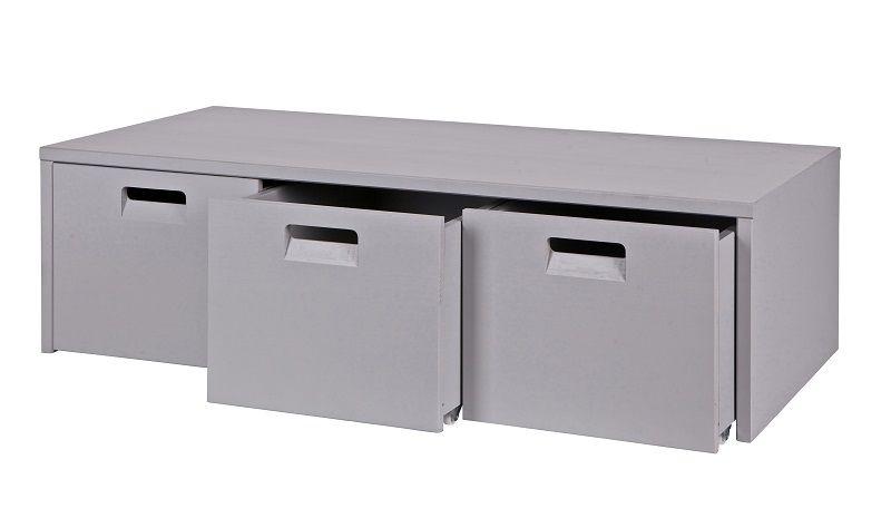 Store Opbevaringsbænk m/3 kasser - Grå