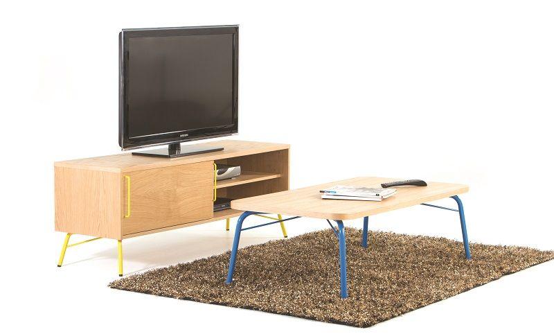 Woodman - Ashburn Sofabord - Blåt stel - Sofabord med blåt stel