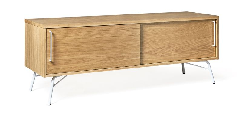 Woodman - Ashburn Tv-bord - Lys træ - TV-bord med skydelåger