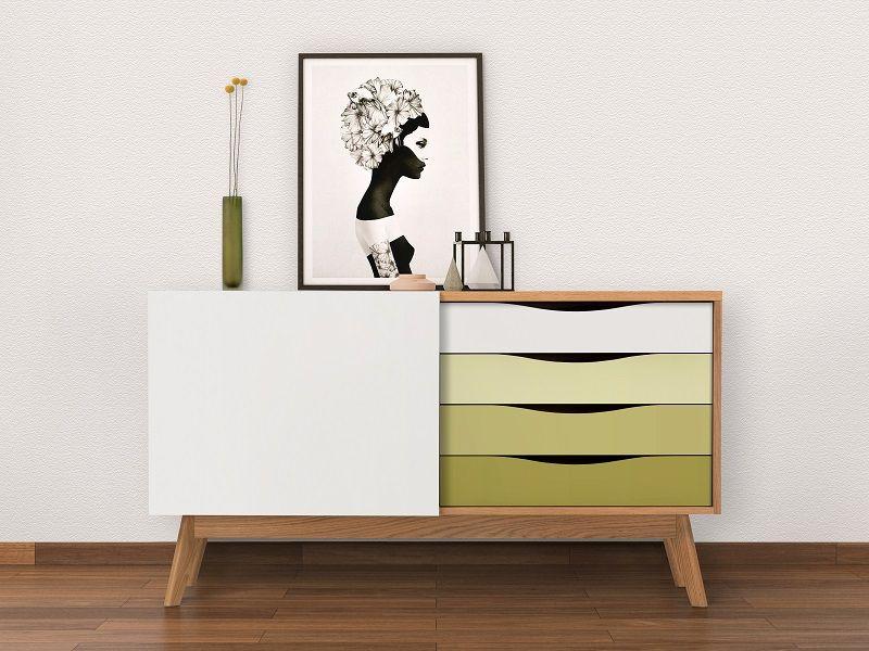 Woodman - Avon Skænk m/farvede skuffer - Olive - Skænk med farvede skuffer