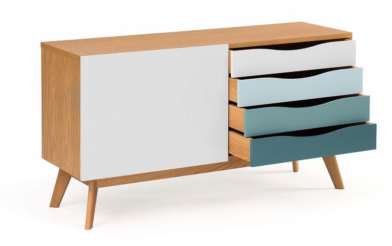Woodman - Avon Skænk m/farvede skuffer - Spruce - Skænk med farvede skuffer