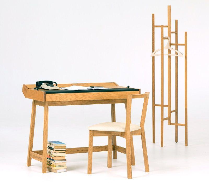 Woodman - Brompton Skrivebord - Lys træ - Skrivebord med læder