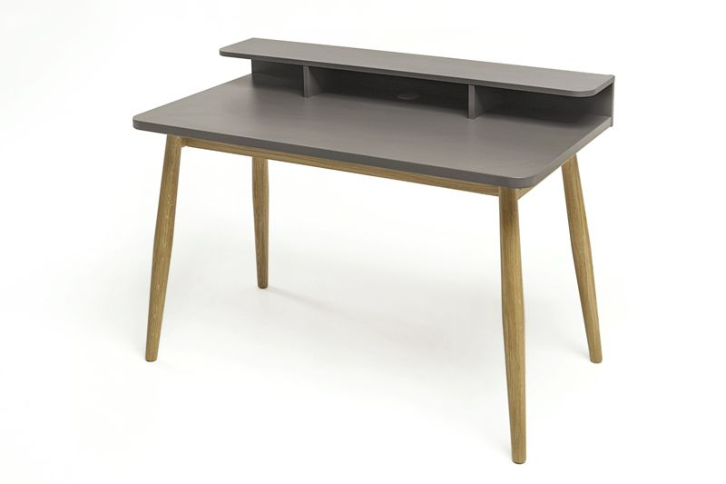 Woodman - Farsta Skrivebord - Grå - Skrivebord m/grå bordplade
