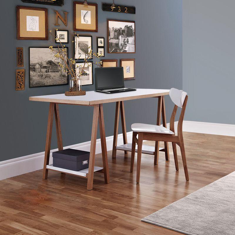 Woodman - Highbury Skrivebord - Hvid - Skrivebord på bukke