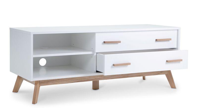 Woodman - Kensal Tv-bord - Hvid - TV-bord med 2 skuffer