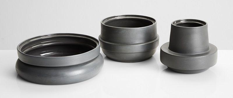 WOUD - Hinken Vase Ø16 - Grå keramik