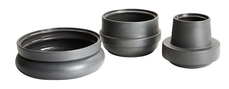 WOUD - Hinken Vase Ø24 - Grå keramik