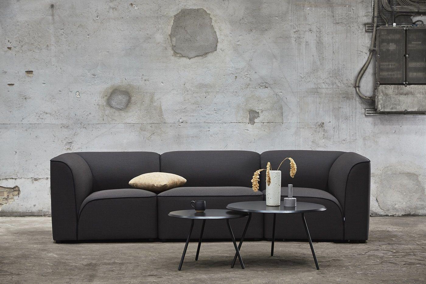 WOUD - Soround sofabord i sort eg, H44/Ø75