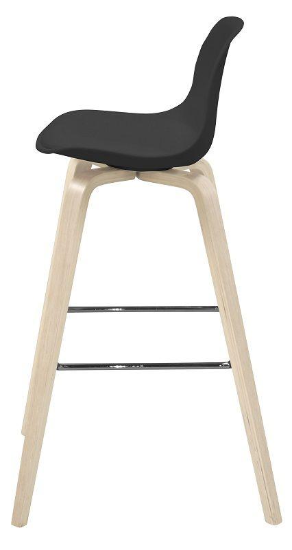 Zena Barstol - Sort sæde - Barstol med lyse ben og sort sæde