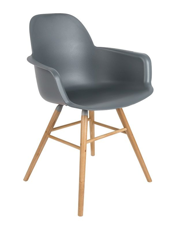 Zuiver Albert Kuip Spisebordsstol armlæn - Koks - Mørk grå spisestol m/armlener