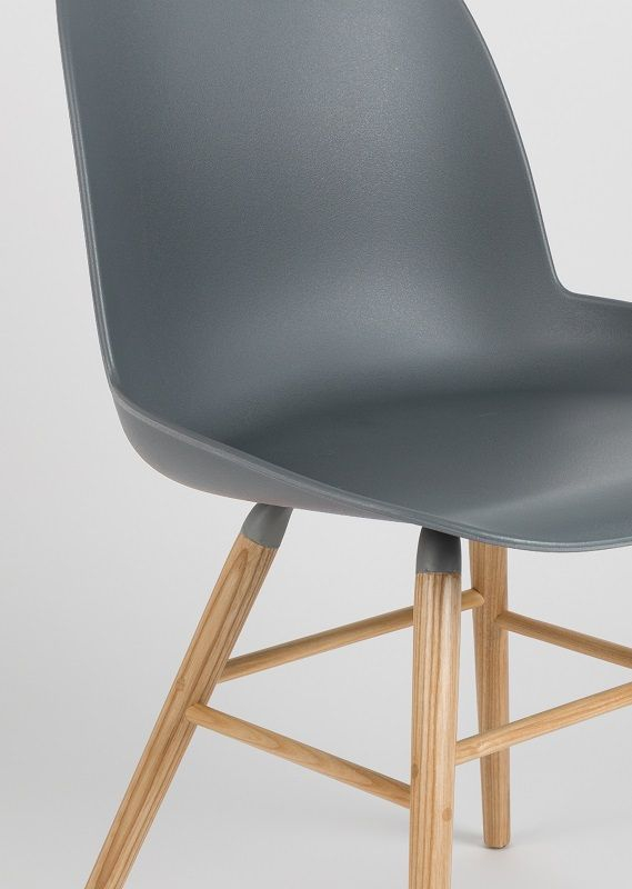 Zuiver - Albert Kuip Spisebordsstol - Koks grå - Skalstol med træben