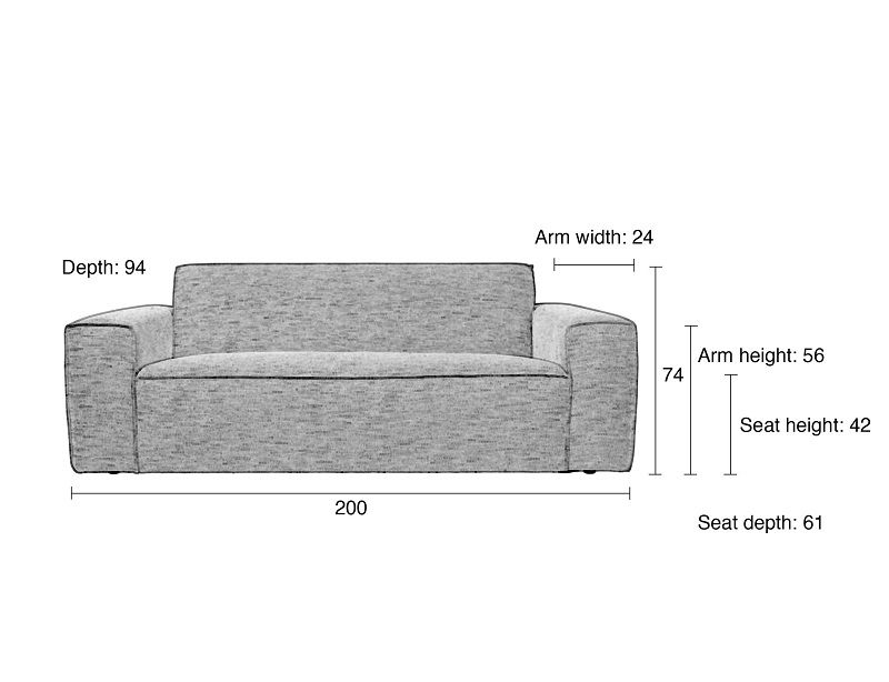 Zuiver BOR 2,5-pers. Sofa - Grå