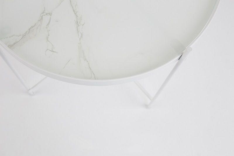 Zuiver - Cupid Sidebord - Hvid Marmor-look - Ø43 - Sidebord i hvid marmor
