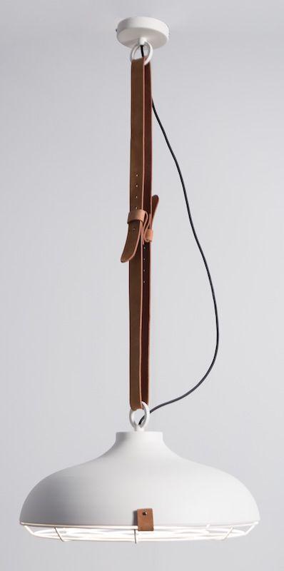 Zuiver - Dek 51 Pendel - Hvid - Pendel i hvid med læderrem