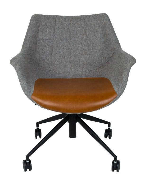 Zuiver - Doulton Kontorstol - Brun - Kontorstol med kunstlæder og grå polster