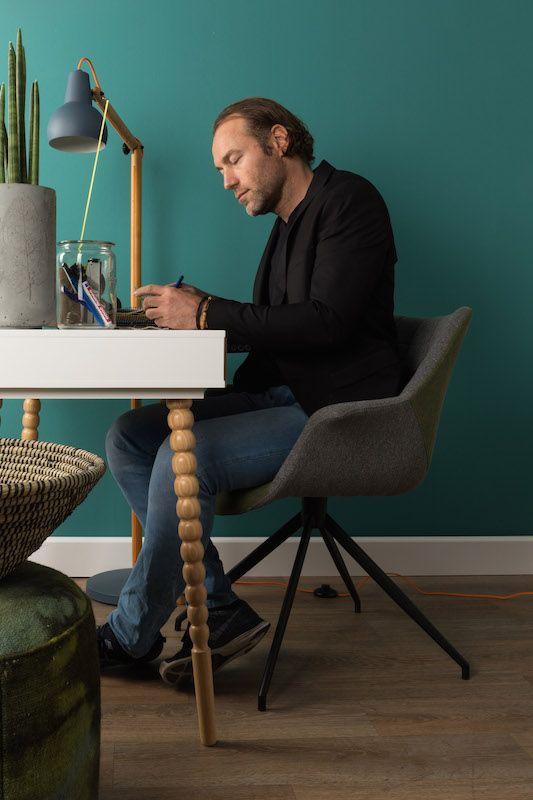 Zuiver - Doulton Spisebordsstol - Blå - Blå spisebordsstol med armlæn