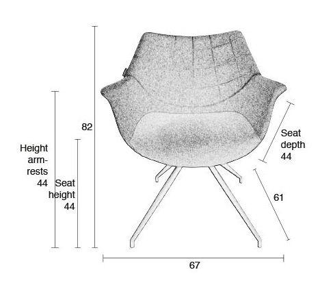 Doulton Spisebordsstol - Grå - Grå spisebordsstol med armlæn