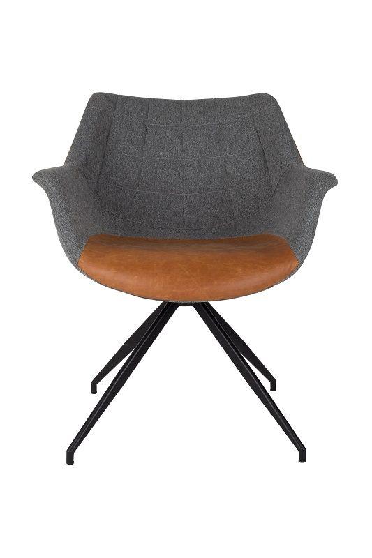 Zuiver - Doulton Spisebordsstol - Grå stof og PU - Spisebordsstol i grå og brun
