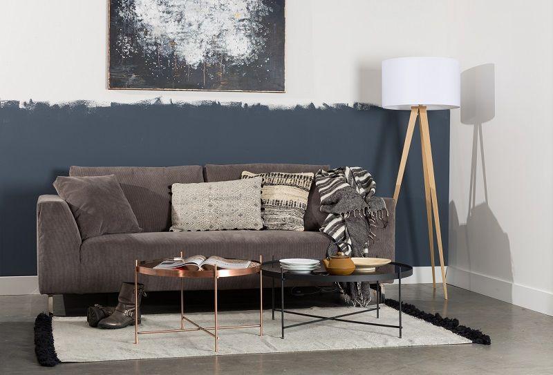 Zuiver - Dragon 3-pers. sofa - Mørk grå fløjl - Grå sofa i fløjl