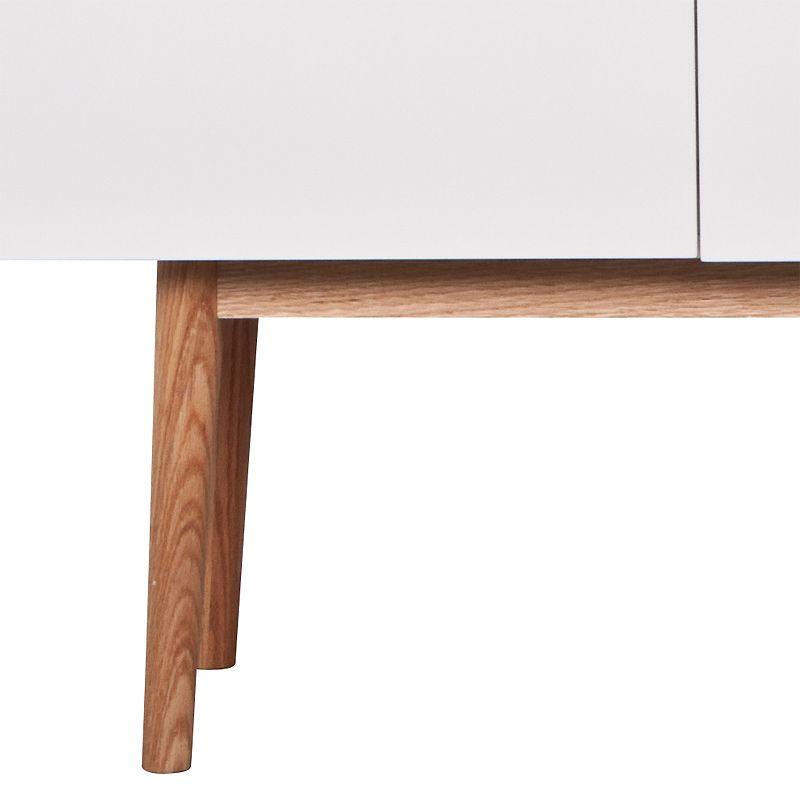 High On Wood Skænk - 160 cm - Skænk i klassisk design med moderne hvid højglans og egetræsben