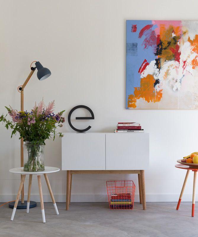 Zuiver - High On Wood Skænk - Hvid - B:90 - Skænk i klassisk design med egetræsben