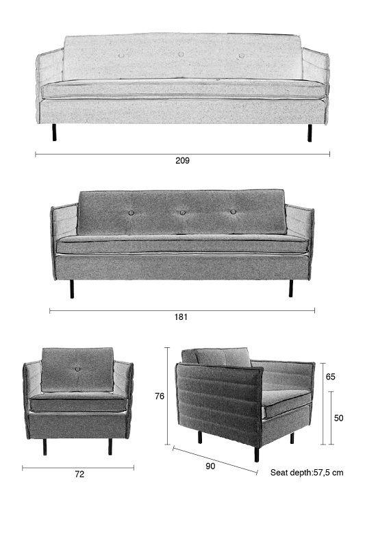 Zuiver - Jaey 3-pers. sofa - Grå - Elegant 3-personers sofa