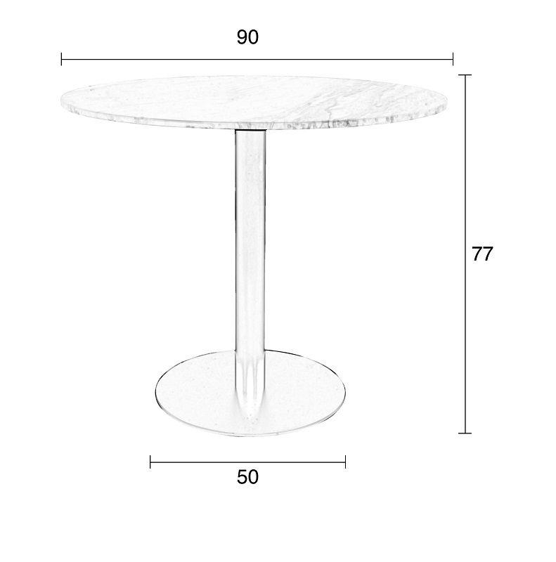 Zuiver - King Spisebord - Sort - Ø90 - Sort bord med marmor top