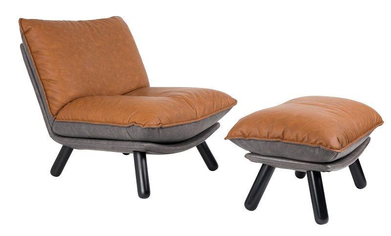 Zuiver Lazy Sack Loungestol - Brun - Lav loungestol i kunstskinn